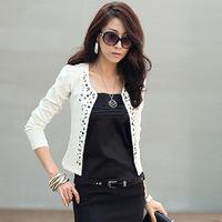 Free shipping 2014 new fashion autumn -summer Korean desigual women solid color rivets Slim long sleeve short coat jacket woman