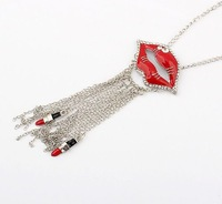 Min.order is $15 (mix order) Sexy set auger crystal red lip Enamel lipstick tassel bubble bib charm necklace