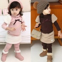 New Arrival 5sets /lot Fall & Winter Baby Girls Princess Suit Puff Sleeve Girl's Shirt + Skirt Leggings Kids Set Pink Brown