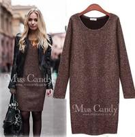 autumn and winter fashion slim basic  long-sleeve women's slim hip woolen dress plus size