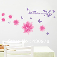 QZ070 Free Shipping 100Pcs Blooming Pink Love Flower Butterfly Bedroom Removable PVC Wall Stickers Fancy Home Decoration Gift