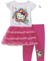 5sets/lot newest cotton girls hello kitty dress+pants 2pcs clothing set kids children Cartoon Suits Kids Sets Baby Costumes