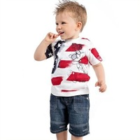 Children summer fashion suits Baby Boys clothing set White printing short sleeves t-shirt +short jeans 2pcs set 5sets/lot