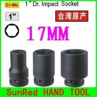 "SunRed BESTIR taiwan original excellent quality Cr-Mo extender 90mm long 1"" drive 6pt 17mm impact socket  NO.65217  freeshipping"