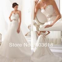 Glamorous 2014 A Line Wedding Dress Sweetheart Backless Chapel Train Appliques Beads Zipper Bow Sash Bridal Gown Custom Made!