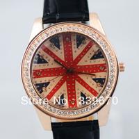 fashion women rhinestone watches leather Watches UK flag women dress Watches wholesale 100pcs free shipping hot gifts