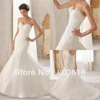 Sparkling 2014 Mermaid Wedding Dress Sweetheart Backless Chapel Train Sleeveless Apliques Sash Zipper Bodice Bridal Gown!