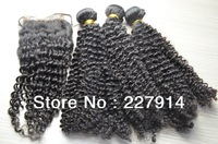 Queen hair products 6a grade unprocessed 3pcs lot with 1pcs top lace closure bleached knots Brazilian virgin kinky Curly Hair