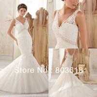 New Arrival!Gorgeous Elegant 2014 Mermaid Wedding Dress V Neck Backless Chapel Train  Appliques Zipper  Bridal Gown Custom Made!