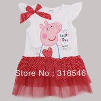 Free shipping 5pcs/lot  girls dress girl summer lace cake tutu dress baby character bow dress w/ Peppa pig