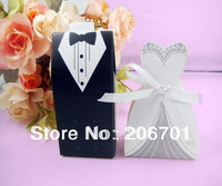 200Pcs Tuxedo Dress Groom Bridal Wedding Party Favor Boxes Ribbon Box Candy Gift
