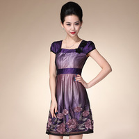 2013 fashion elegant gauze embroidery flower organza slim quality lace one-piece dress