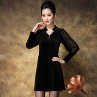 Autumn vintage one-piece dress plus size clothing V-neck long-sleeve evening dress noble dinner party clothes