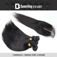5A Queen hair products Peruvian Virgin FREE SHIPPING silk straight middle part Lace closure 4 bundles Unprocessed Hair Extension