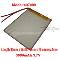 Lithium  Li-polymer rechargeable Battery Li-Po 407090 3.7v  3000 mAh for Mobile Power Tablet PC