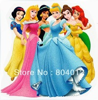 Free Shipping~10 pcs/lot Wholesale Heat Transfer  Six Princess  Iron On patches rhinestones Applique Badges