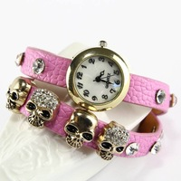 Free Shipping European and American fashion new ladies watch leather watch fashionable female table skull student table