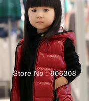 Free Shipping!children's clothing autumn and winter warm cotton vest glossy with hood vest outerwear new arrival plaid outwear