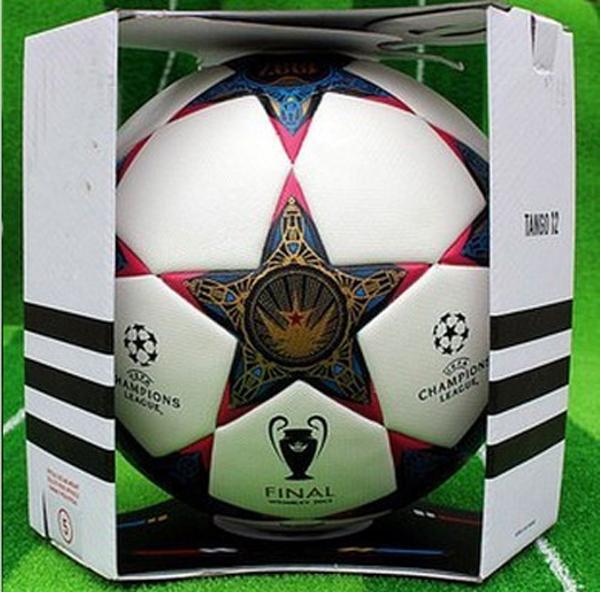 Free Shipping 2013 champions league ball seamless PU granules slip-resistant 5 Football Ball Soccer Ball with display box(China (Mainland))