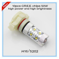 2014 NEW products free shipping 2pcs/lot H16 5202 50W 10pcs cree chips super bright white yellow red blue auto headlamp car part