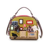 Braccialini 's same designer women's handbag fashion casual vintage portable messenger bags bag personality Sweet Home