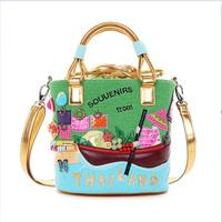 Italy Braccialini spring and summer women's handbag candy color canvas bag handbags messenger bucket bagsThailand braccialini