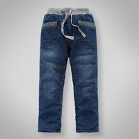 Winter children's clothing male child classic solid color water wash soft plus velvet thickening thermal denim trousers