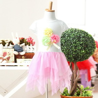 New,girls summer dress,children casual dress,cotton,flowers,bow,asymmetrical,2-8 yrs,5 pcs / lot,wholesale kids clothing,0449