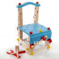 Free shipping Child wooden tool lubanjiang chair diy shelfstool nut combination toy  blue