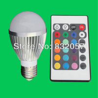 Free Shipping 3W E27 Remote Control 16 Color RGB LED Bulb Light 16 Color Changed Spotlight CE RoHS High Lumen RGB LED Bulb Light