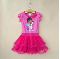 Wholesale New Summe baby Girl Doc McStuffins pink Dress  10pcs/ lot free shipping girls cloyhes