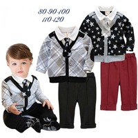 New 2013 Spring  Autumn Lapel long-Sleeved black sleeved Shirt + Pants Tie College   Children Set  Children Clothing