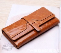 Hot sale!! Genuine leather women wallet money clip, first layer cowhide day clutches wallet purse burse card holder