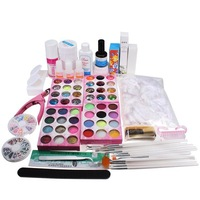 Professional Acrylic UV Gel Glue Top Coat Nail Art Pen Brush Glitter Cleanser Primer Clipper Tool Set