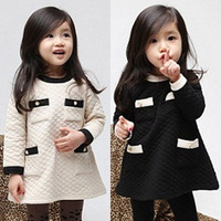 2013 new autumn children clothing korean pure color kids cotton long sleeve cotton-padded dress, child quilted dresses for baby