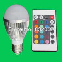 Free Shipping 5W RGB LED Spotlight Bulb 16 Colors Change Spotlight CE RoHS Warranty 3 Years High Lumen RGB LED Bulb E27