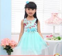 Free shipping Retail summer girls dress princess clothes kids dress children dress size for 3-11years