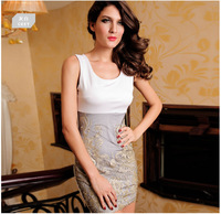 2014the new summer European and American sleeveless vest embroidered dress sexy package hip dress Women's dress ft970