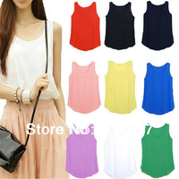 Women Casual Blouse Sleeveless Vest Solid Top