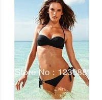 2014 New 2Pcs/Set Super Sexy Women Beach Bikini Fashion Secret Quality Solid 3 color Swimwear For Women S/M/L Free Shipping