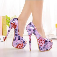 Vintage fancy pattern multicolour ultra high 16cm stage shoes color block decoration sexy thin heels open toe shoe 628
