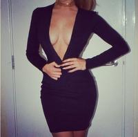 2014 sexy deep V neck bandage club wear dress black red long-sleeve backless sexy bandage formal one-piece dress new fashion