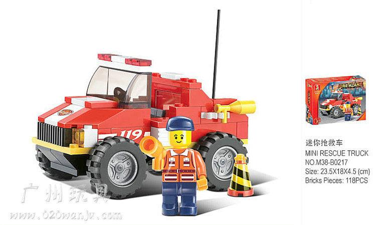 Building Block Set SLuBanM38-B0217 119 fire service center/mini rescue vehicle 118PCS,3D Model(China (Mainland))
