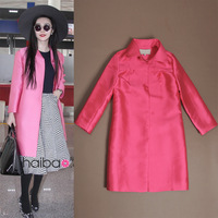 Fashion women's 2013 autumn straight long-sleeve trench elegant doupion silk outerwear