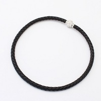 Hot New Fashion Jewelry Black Braided Leather PU Chain Punk Magnetic Rhinestone Buckle Necklace Wholesale Free Shipping#99621