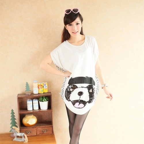 Dudubobo 2013 good looking paillette cartoon graphic patterns loose short-sleeve T-shirt 1921(China (Mainland))