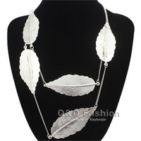 Women Antique Silver 5 Tree Carved Leaf Long Chain Statement Sweater Necklace Jewelry Free Shipping