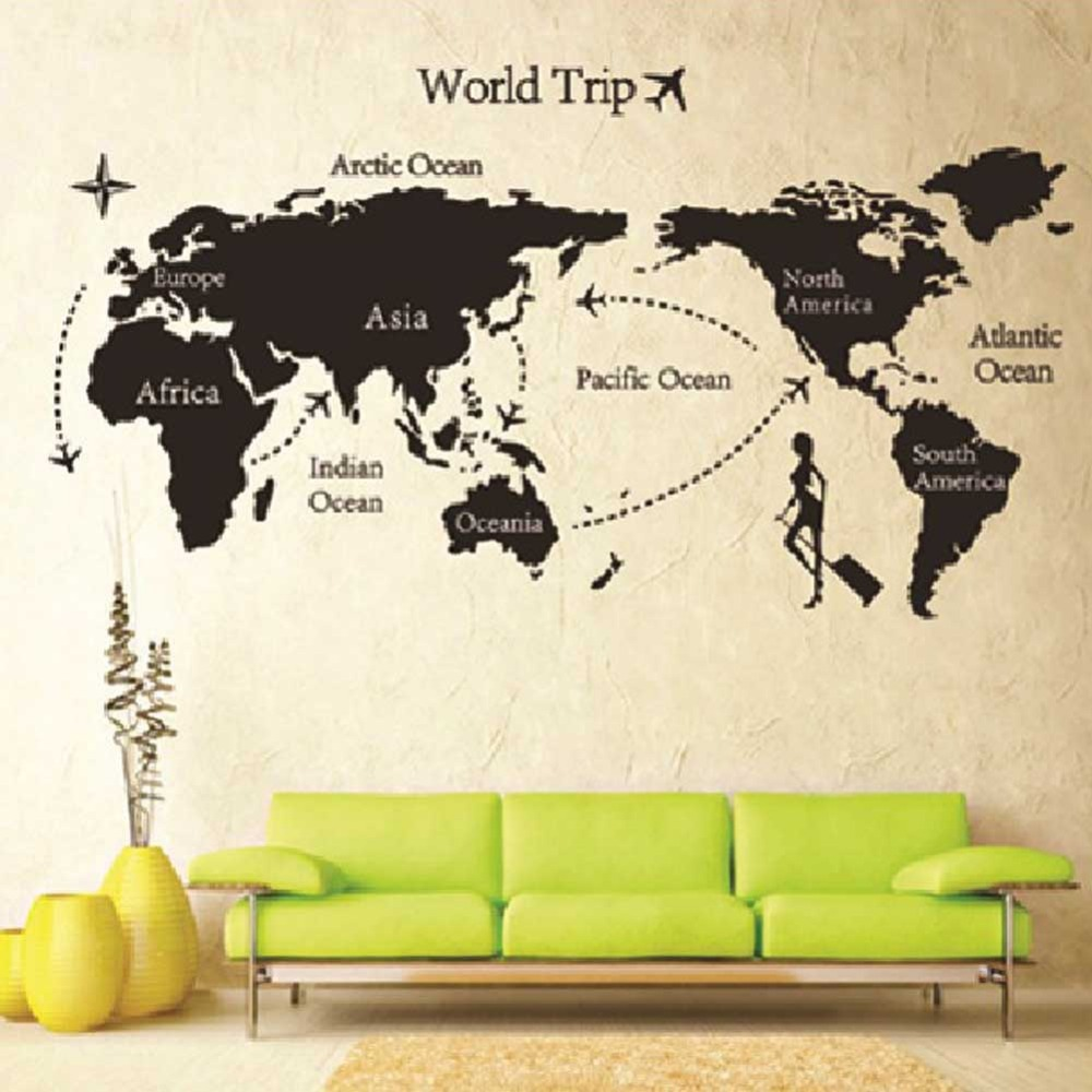 Hot Sale New Removable Vinyl World Trip Map Art Wall Sticker Decal Mural DIY Decor HG-05301(China (Mainland))