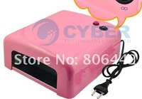 36w Gel Curing Nail UV Lamp Dryer + 4 x 9w Tube Light Bulbs Pink 220~230V EU Plug