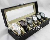 Free shipping Leather Skylights 6 Grid Watch Display Case Box Jewelry Storage Organizer Black